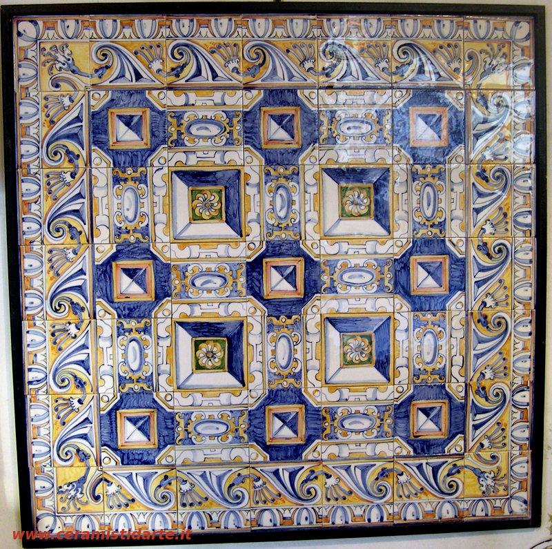 pannello murale per cucina bagno o per tavolo composto da 49 piastrelle con decoro a punta di diamante che conferisce alla decorazione uno spettacolare